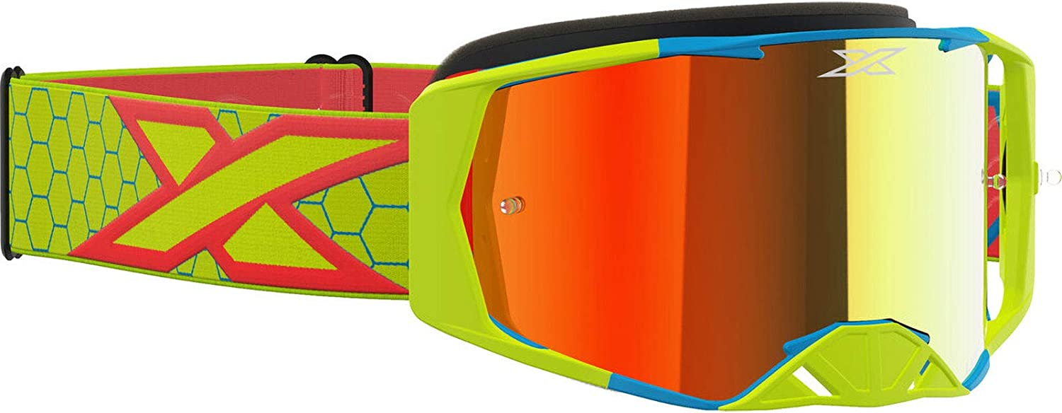 EKS Lucid Adult Off-Road Motorcycle Goggles Flo Yellow//Fire//Cyan//Red Mirror//One Size