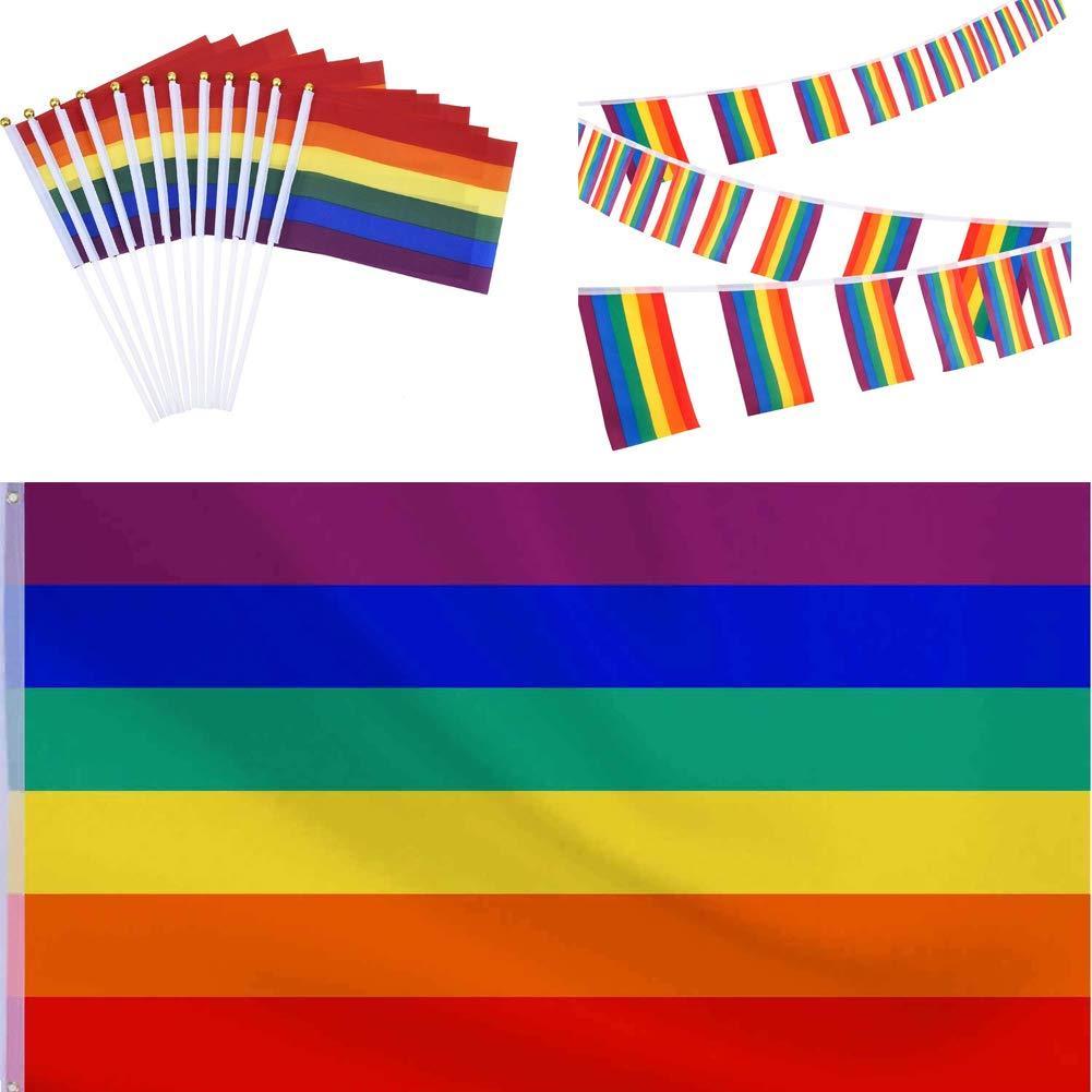 SAIYU Bandera de Orgullo Gay, que incluye banderas de 30 pies Banderas de cuento, 150 por 90 cm Bandera de lesbianas gay de arco iris grande, colgante, y bandera romana de 12 piezas, pequeña, para el desfile del Orgullo Gay LGBT Decoraciones para fiestas