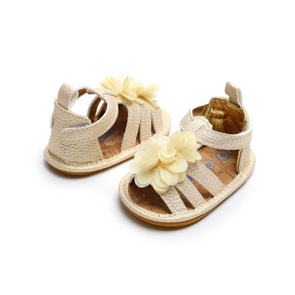 Infant Baby Girls Sandals Non-Slip Rubber Sole Summer Flower Princess Shoes