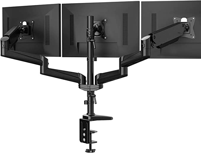 Amazon.com: Triple Monitor Stand - Full Motion Articulating Aluminum Gas Spring Monitor Mount Fit Three 17 to 32 inch Flat/Curved LCD Computer Screens with Clamp, Grommet Kit, Black: Computers & Accessories