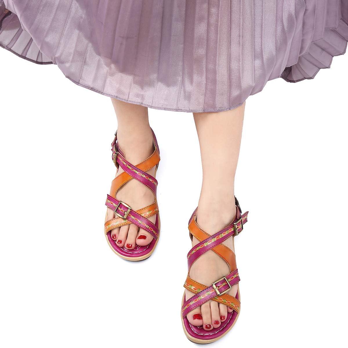 Chaussures /Ét/é /à Talons Plats Semelle Confortable Sandales de Randonn/ée Marche R/églable /à Scratch pour Pieds Larges Marron Bleu gracosy Sandales Cuir Femmes Plates