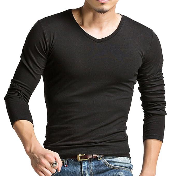 Honghu Camiseta V-Cuello de Manga Larga para Hombre Tamaño XXL Negro: Amazon.es: Ropa y accesorios