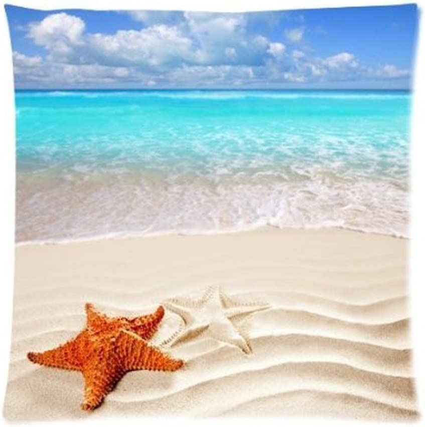 Sandy Tropical Paradise Beach With Starfish And The Sea Ocean Cushion Case Decorative Square Throw Cushion Pillow Case Pillow Shell Pillowcase 18x18 Inches Home Kitchen Amazon Com
