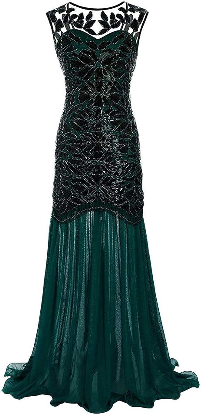 MIRRAY Damen Glitzerkleid Kleid Retro 15er Jahre Kleid Stil