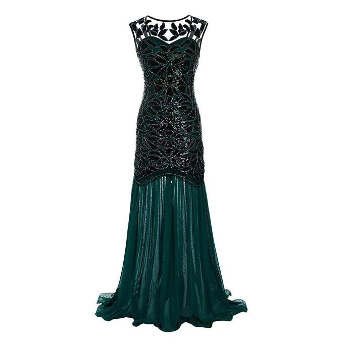 370a5a93ee3a showsing-women clothes da Donna Chiffon Appliques Sirena Formale con  Paillettes o-Collo Lungo