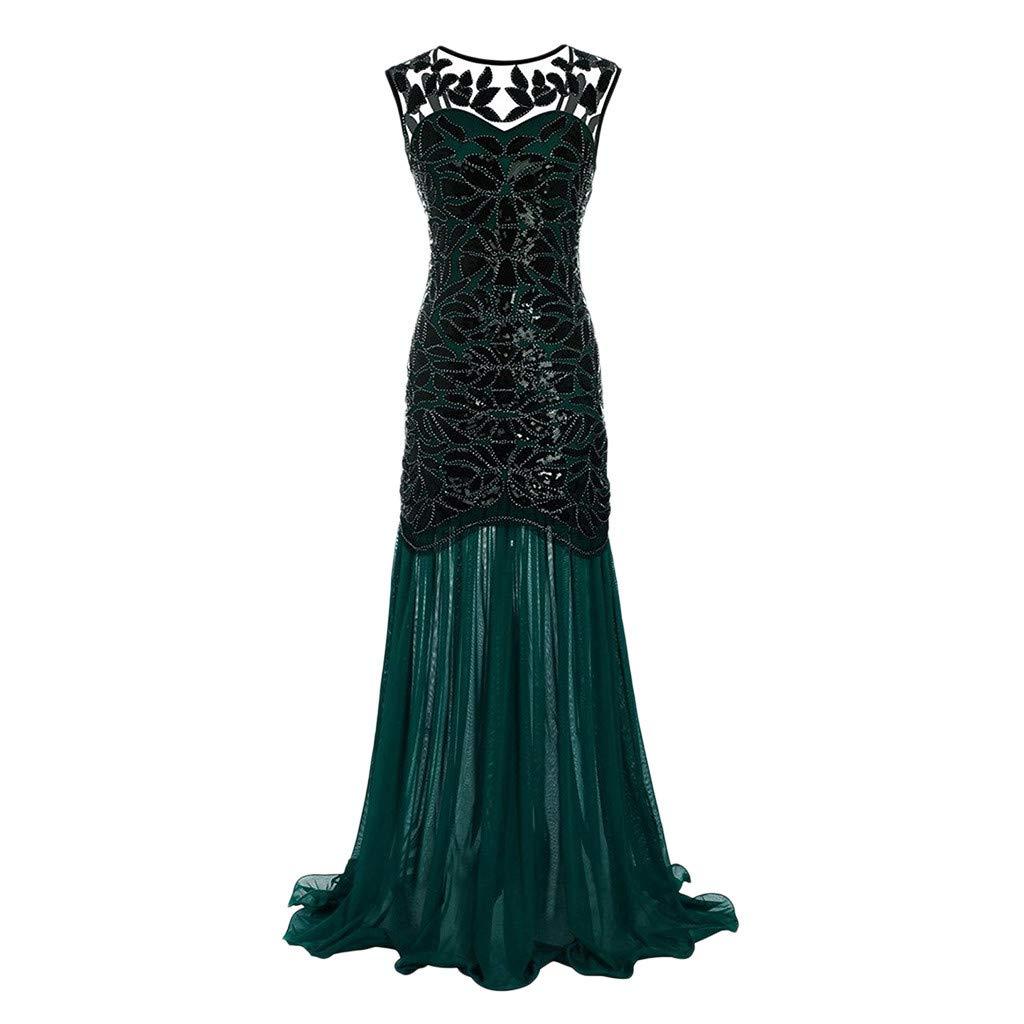 Green Sameno Fashion Women Vintage 1920s Sequined Patchwork Sleeveless Maxi Long Evening Prom Dress