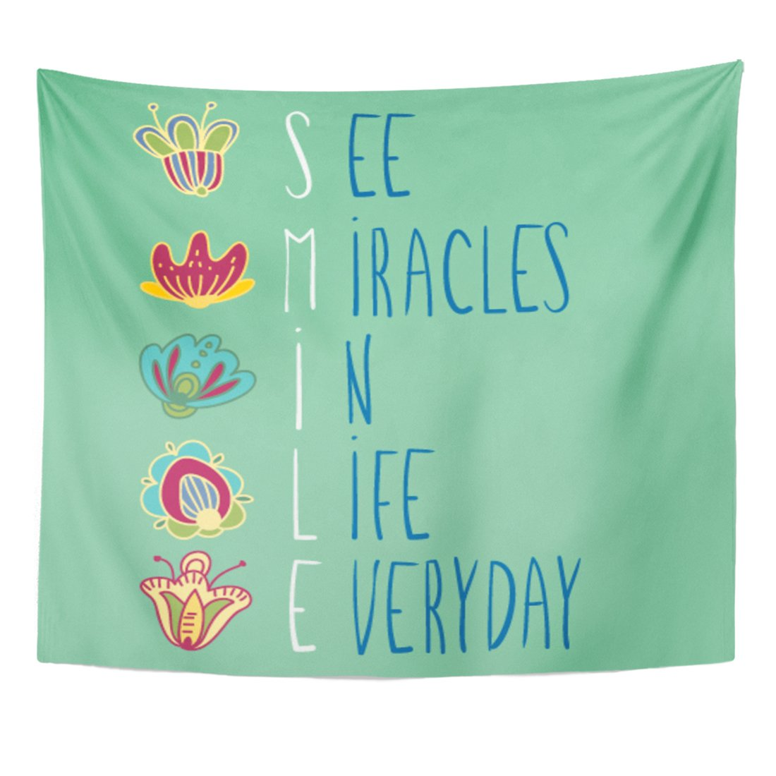 Emvency Tapestry Cute Inspirational Words See Miracles in Life Everyday Colorful Home Decor Wall Hanging for Living Room Bedroom Dorm 50x60 Inches by Emvency