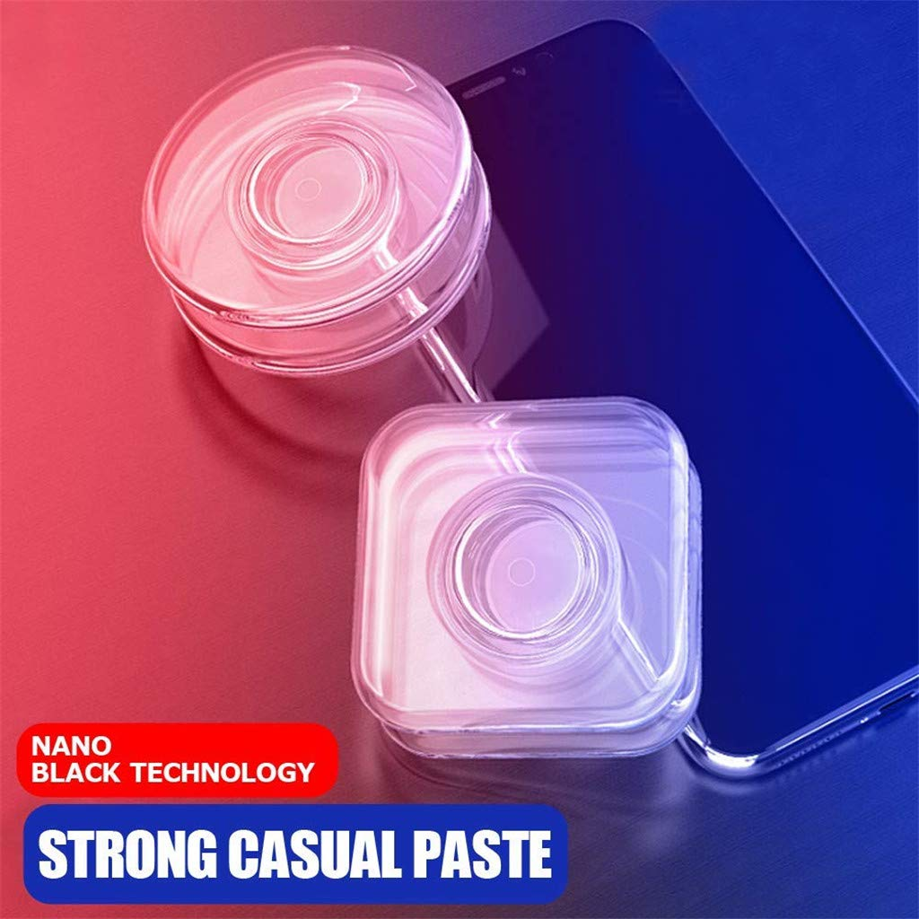 1pc Round+1pc Square Reusable Nano Casual Paste PU Material Nano Magic Sticker Phone Holder Mount Multi-Functional Universal Strong Nano Rubber Phone Stand