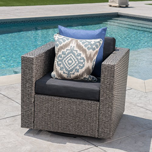 Venice Outdoor Dark Brown Wicker Swivel Club Chair with Beige Water Resistant Cushions (Single, Mix Black/Dark Grey)