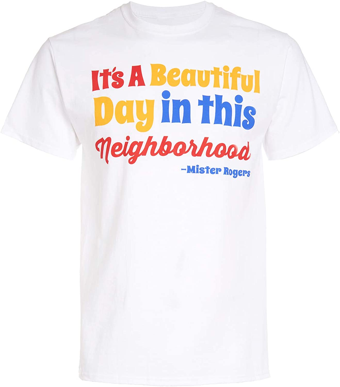 Amazon Com Mr Rogers Men S Short Sleeve T Shirt It S A Beautiful Day In This Neighborhood Shirt Clothing