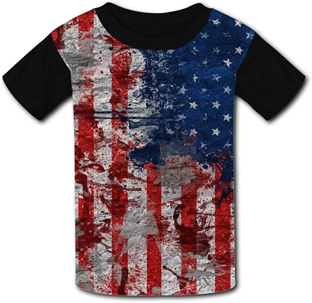 Watercolor Art Star-Spangled Banner Child Short Sleeve Fashion T-Shirt of Boys and Girls