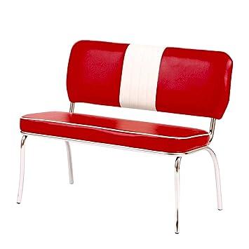 "Küche sitzbank küche retro : 2 x Sitzbank ""Paul 2"" Retro American 50s Dinerbank Bank rot / weiß ..."