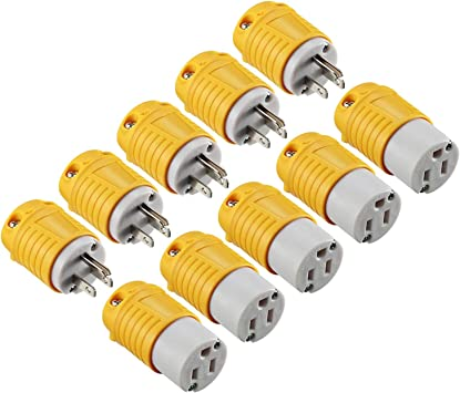 Straight Blade Plug 125V 15A Industrial Grade 3-Prong Straight Blade Grounding Type Male And Female Electrical Plugs End Extension Cord Ends Male and Female Replacement Plug /& Connector Set
