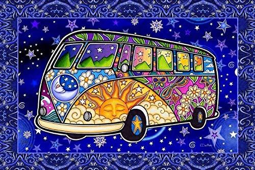 Hippie Bus Peace Road Trip Tapestry by Dan Morris