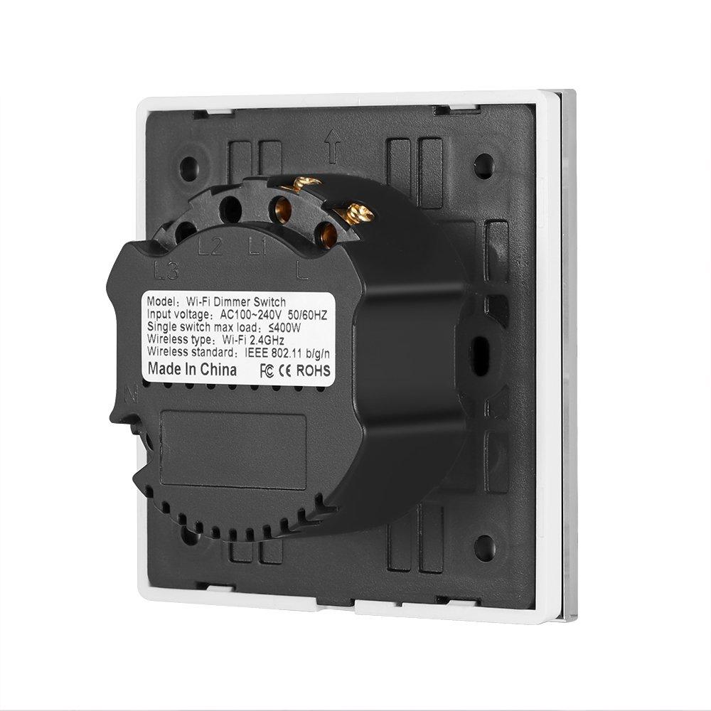 Timing-Funktion 1 Pack Smart Dimmer WLAN 400W Ber/ührung umschalten Stufenlos Wandleuchte Schalten Sie Arbeit mit Alexa//Google nach Hause//IFTTT 1 Gang APP Fernbedienung