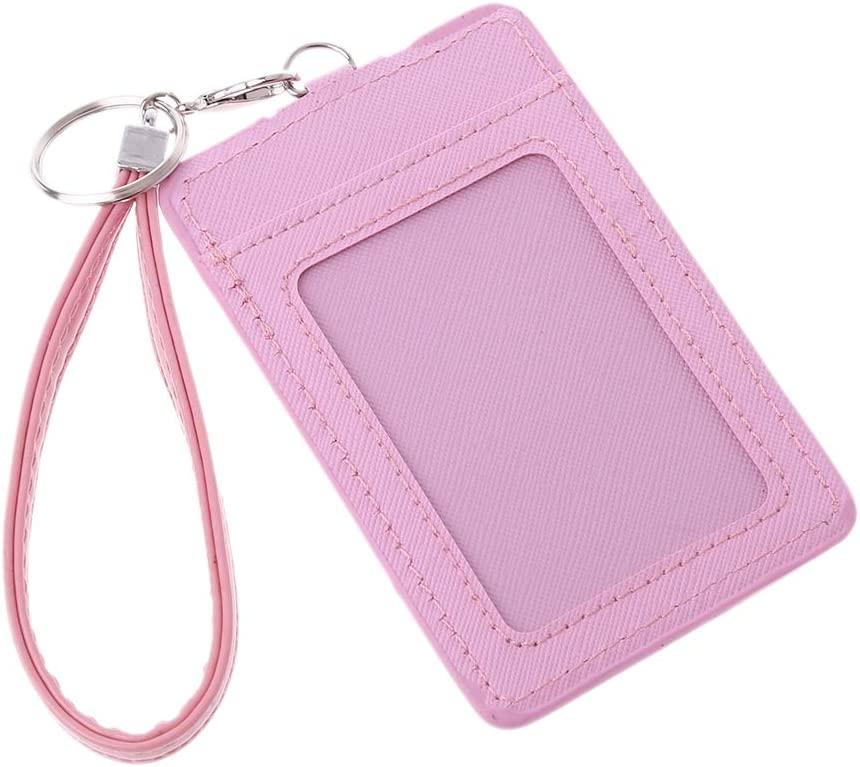 ID Card Holder Keyring Credit Card Case with 2 Card Slots,Purple