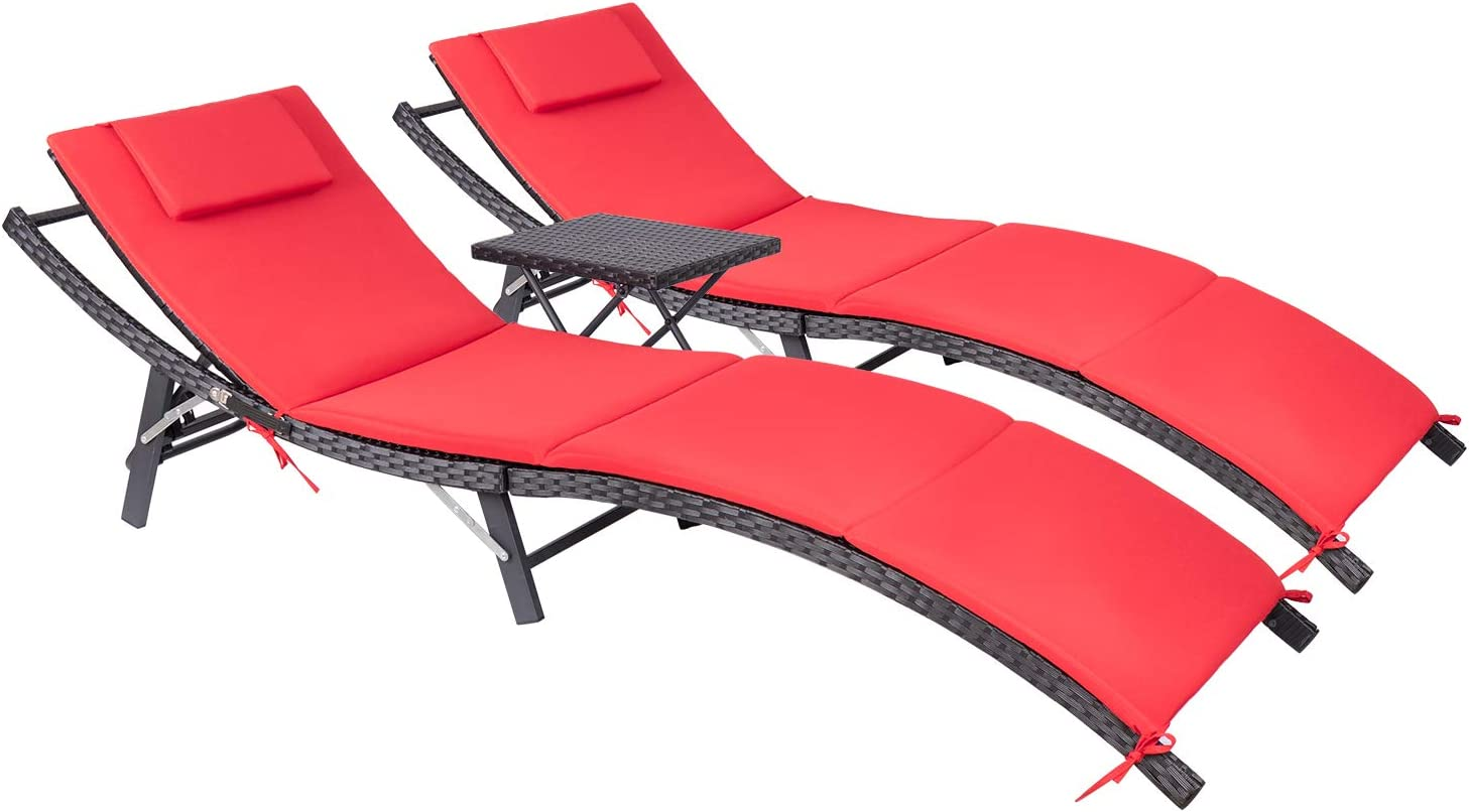 Devoko Patio Chaise Lounge Sets Outdoor Rattan Adjustable Back 3 Pieces Cushioned Patio Folding Chaise Lounge with Folding Table (Red)