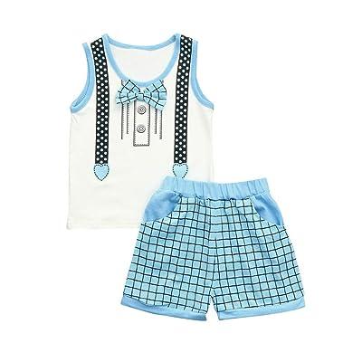 9e8b67ea344 Moonker Infant Toddler Baby Boy Shorts Set Bowknot Print Sleeveless T Shirt  Vest Plaid Shorts Pants Outfit 0-3T