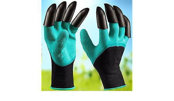 Guantes de jardín genie con dedos de garra, guantes de trabajo de jardinería para hombres y mujeres, compostaje de plantación de cavidad rápida, garras en la mano derecha e izquierda, 1 par (