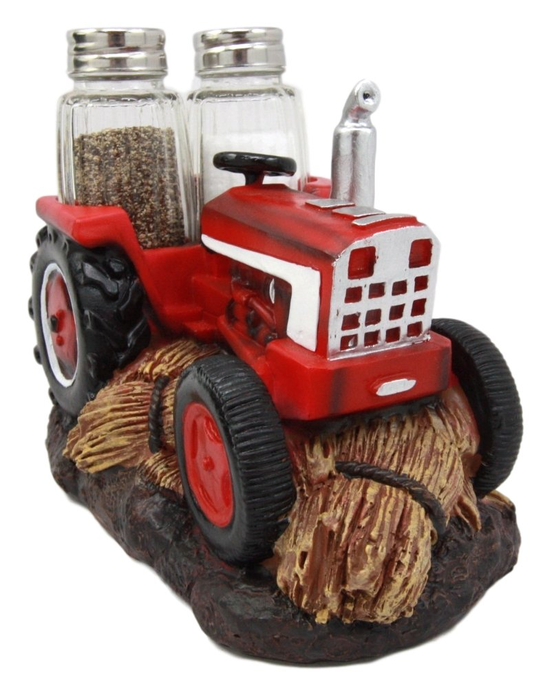 Atlantic Collectibles Vintage Country Side Farm Agriculture Harvest Red Tractor Salt Pepper Shakers Holder Figurine 6.75'' L