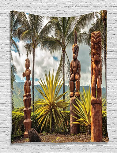 Palm Trees Tropical Island Ocean Hawaii Tiki Mask Wall Decor Art Pictures Fine Art for Bedroom Living Room Home Decorations Fabric Room Dividers Dorm Accessories, Brown Mustard Green White - Hawaii Fine Art