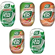 Tic Tac Bottles Variety (Pack of 5) - Freshmints, Fruit Adventure, and Orange - By CandyLab