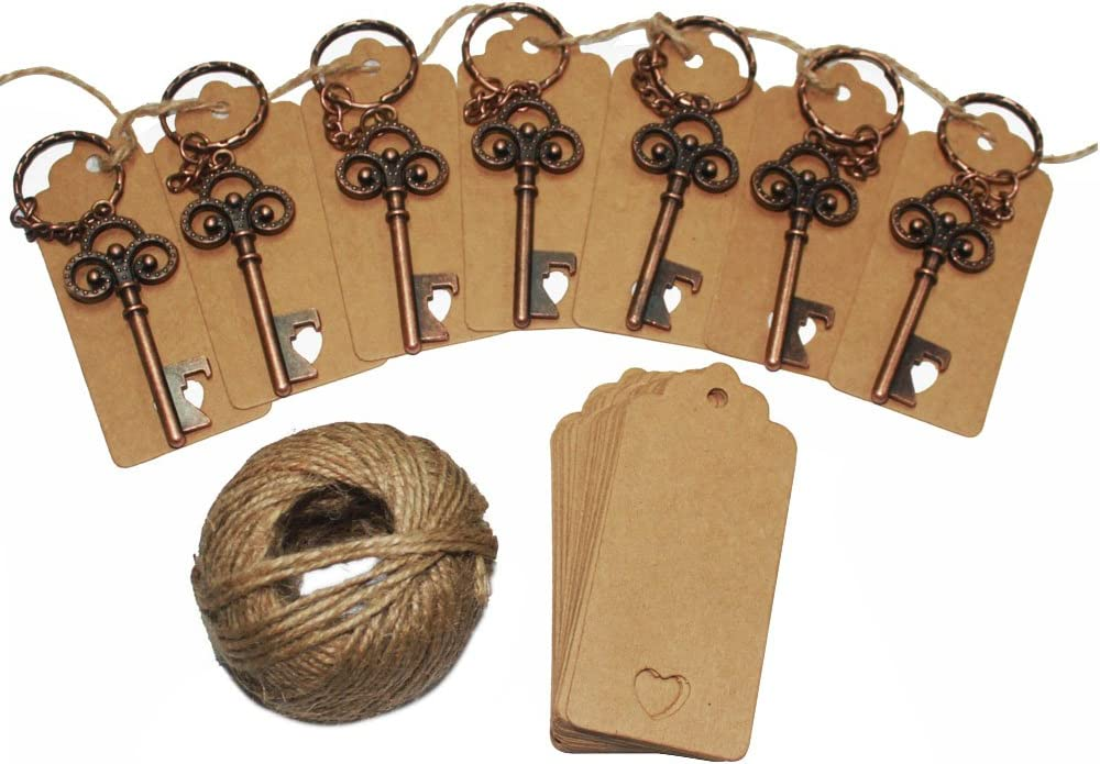 Bronze 75Pcs Wedding Favors Skeleton Key Bottle Opener,Vintage Skeleton Key Bottle Opener with 75pcs Escort Card Tag and Twine for Guests Party Favors Rustic