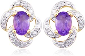 18k Yellow Gold Plated Sterling Silver Amethyst and Diamond Accent Flower Post Earrings