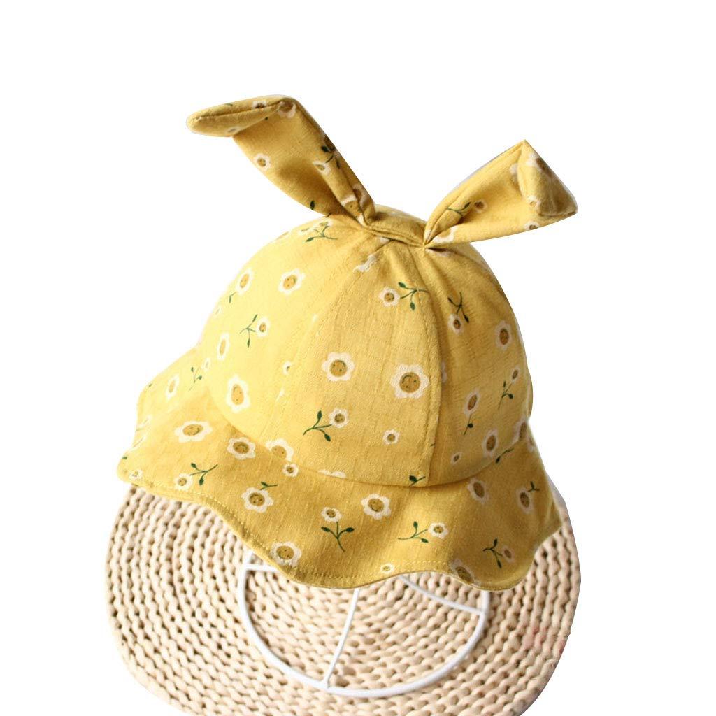 ballboU-Toddler Baby Wavy Wide Brim Fisherman Hat Cute Long Rabbit Ears Floral Printed Sunshade Beach Sun Protection Cap