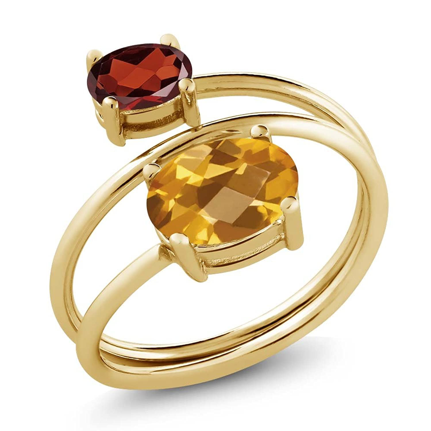 2.25 Ct Oval Checkerboard Yellow Citrine Red Garnet 18K Yellow Gold Plated Silver Open Ring