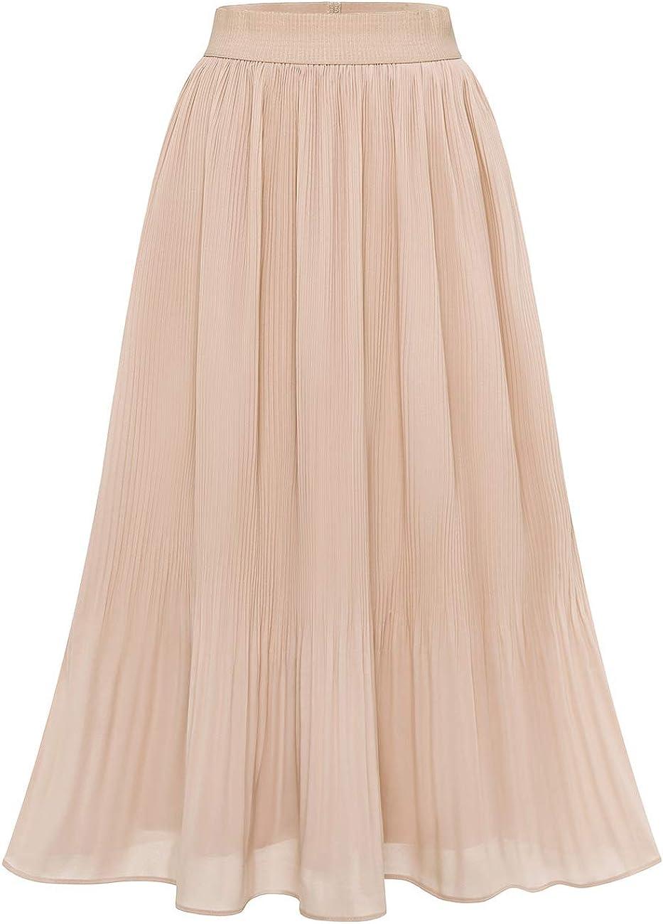 60s Skirts   70s Hippie Skirts, Jumper Dresses DRESSTELLS Womens Pleated Midi Skirt High Waist Swing Skirt A-Line Party Long Skirt $25.99 AT vintagedancer.com