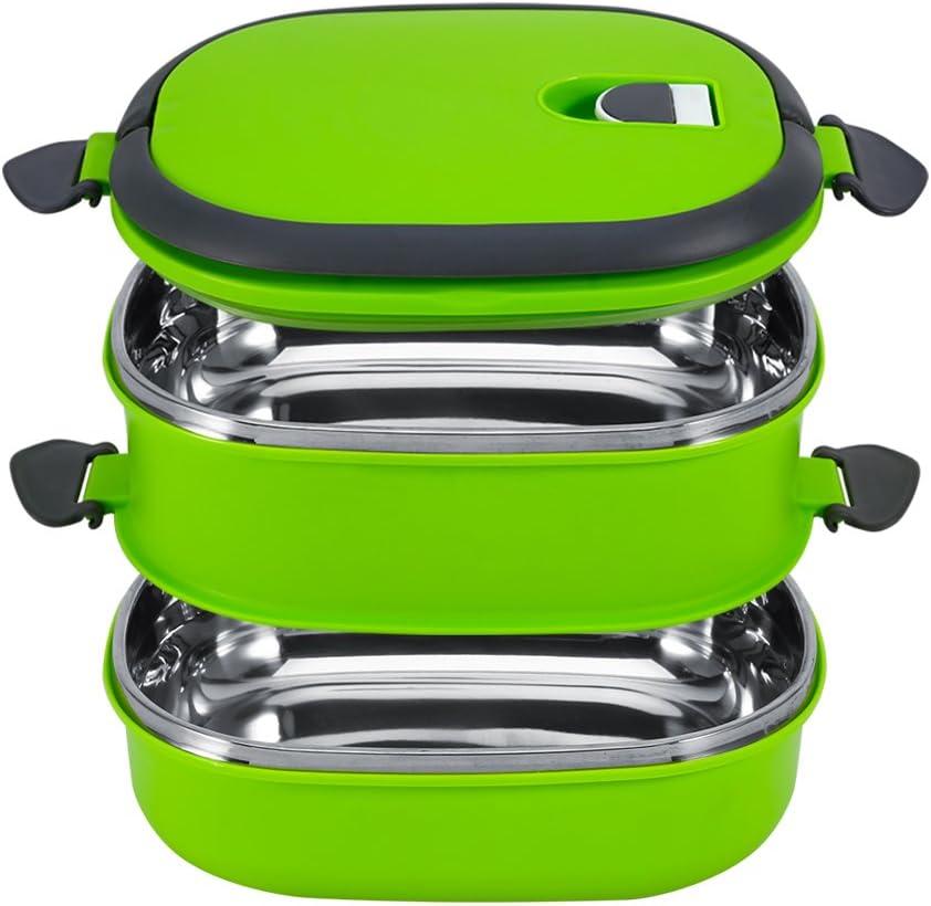Fiambrera Caja de Almuerzo de Bento Térmica con Aislamiento Térmico de Acero Inoxidable, 1-3 Capas de Contenedores de Alimentos a prueba de fugas para Niños, Adulto(Verde 2capas)