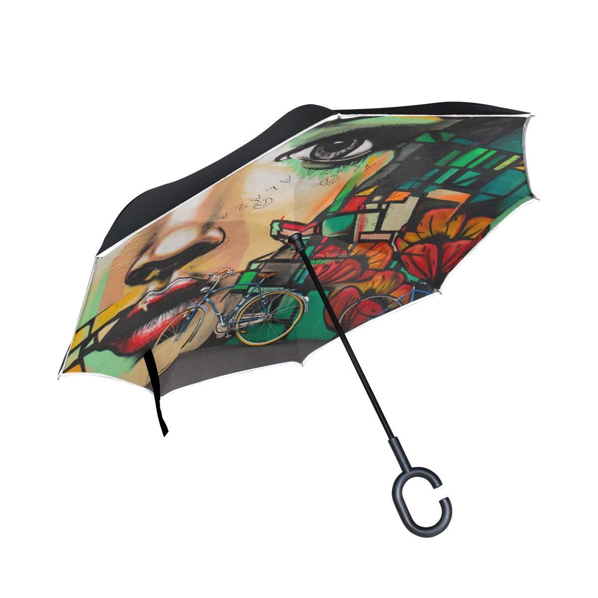 SUABO 逆さ傘 二層 逆折りたたみ傘 アーティスティック 女性用 防風傘 車 雨 屋外用 C型ハンドル付き   B07H26CMT5