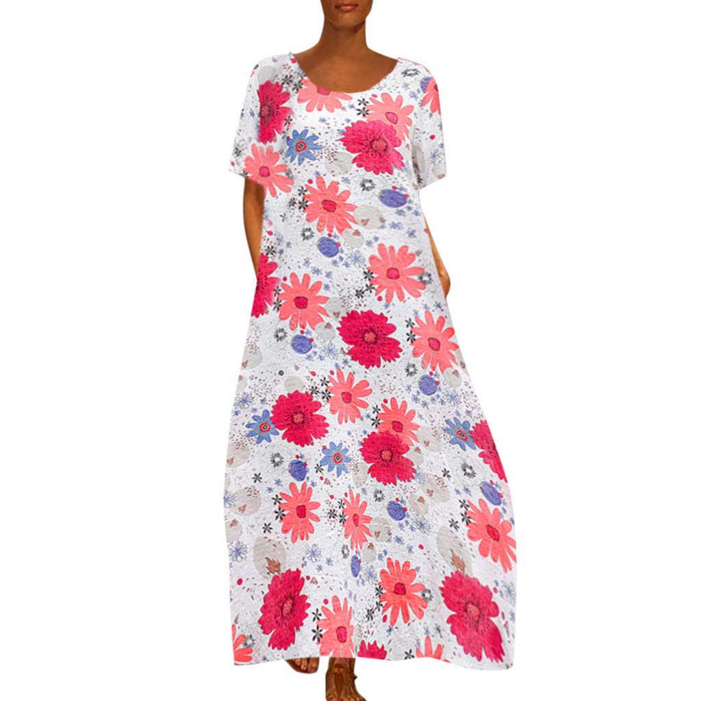 Women Floral Shift Dress -Ladies Loose Crew Neck Shorts Sleeve Print A Line Maxi Dresses - Casual Indoor Outdoor Daily Clothes (M, Red)