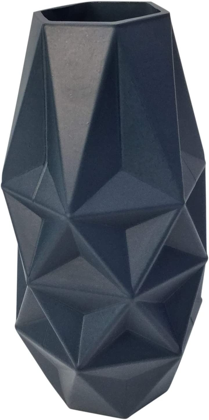 Rammento 25cm Tall Wide Mouth Prism Navy Blue Glass Flower Vase Amazon Co Uk Kitchen Home