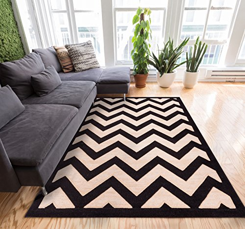 Well Woven Stripes Zig Zag Chevron Black and Beige with Shading Effect Area Rug 5x7 (5' x 7'2'') Multi Color Red Black Beige Thick and Soft Pile