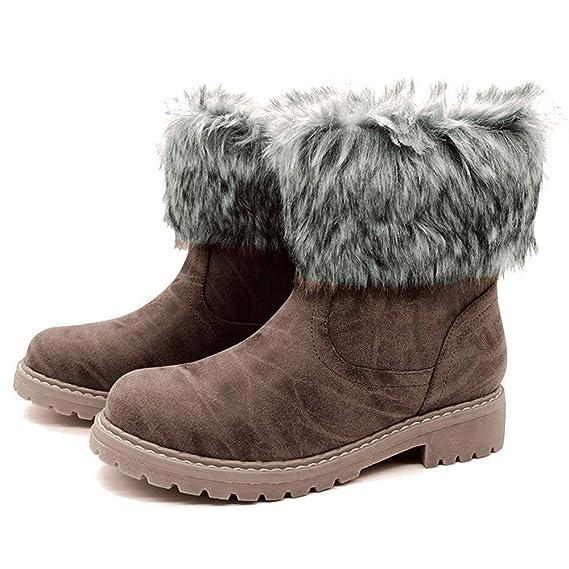 90491db1b811 TianWlio Stiefel Frauen Herbst Winter Schuhe Stiefeletten Boots Retro  Slouch Warm Halten Runder Schuh mit Flachem