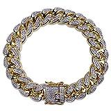 Jewelrysays Hip Hop Fashion CZ Jewelry 13mm Width Cuban Chain Zirconia Bracelet Gifts