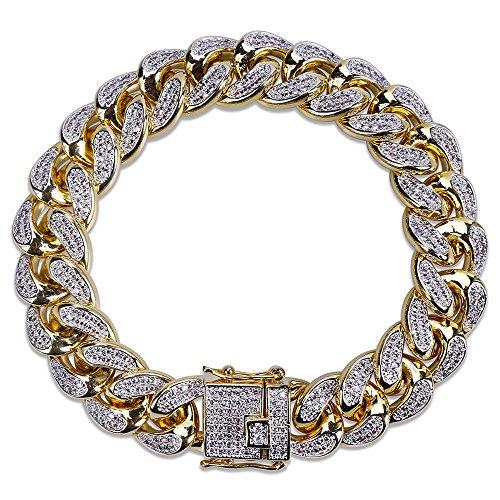 Jewelrysays Hip Hop Fashion CZ Jewelry 13mm Width Cuban Chain Zirconia Bracelet Gifts by Jewelrysays