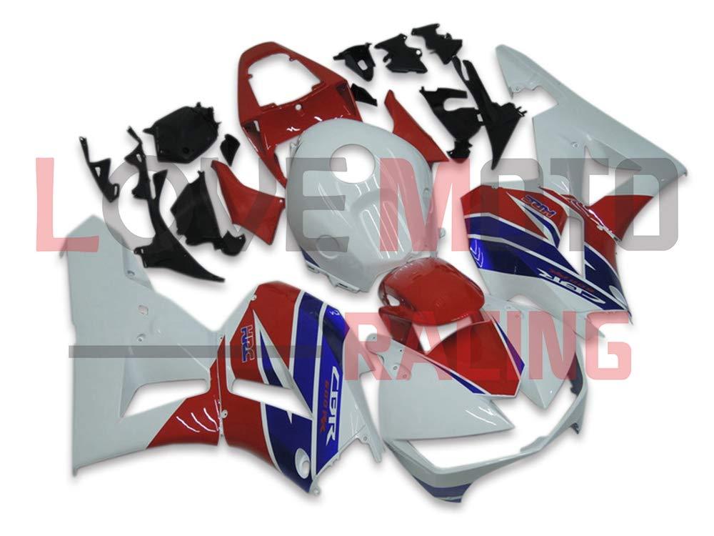 LoveMoto ブルー/イエローフェアリング ホンダ honda CBR600RR F5 2013 2014 2015 2016 13 14 15 16 CBR600 RR F5 ABS射出成型プラスチックオートバイフェアリングセットのキット ホワイト レッド   B07KD3PM85