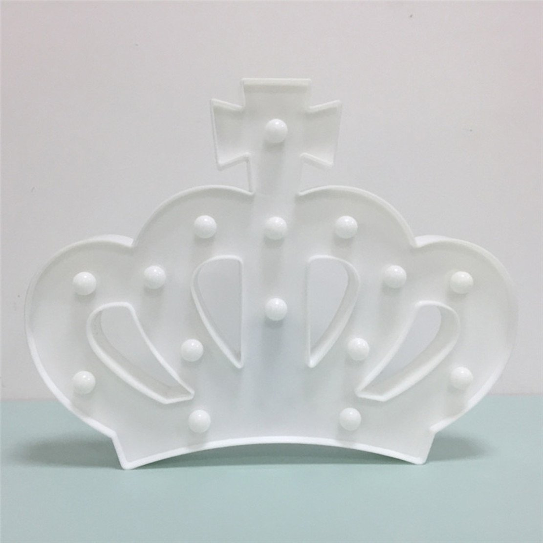 QiaoFei 3D Crown Marquee Sign Light,LED Queen Princess Kings Shaped Sign-Lighted,Wall Decor for Chistmas,Birthday party,Kids Room, Living Room, Wedding Party Decor(White) by QiaoFei (Image #5)
