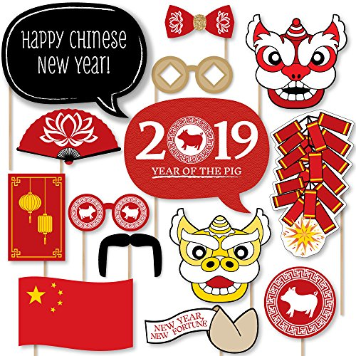 Chinese New Year - 2019 Year of The Pig Photo Booth Props Kit - 20 Count -