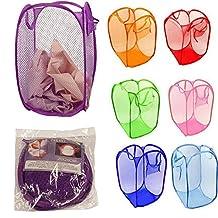 Foldable Pop Up Laundry Basket Hamper Washing Clothes Bag Bin Mesh StorageCute