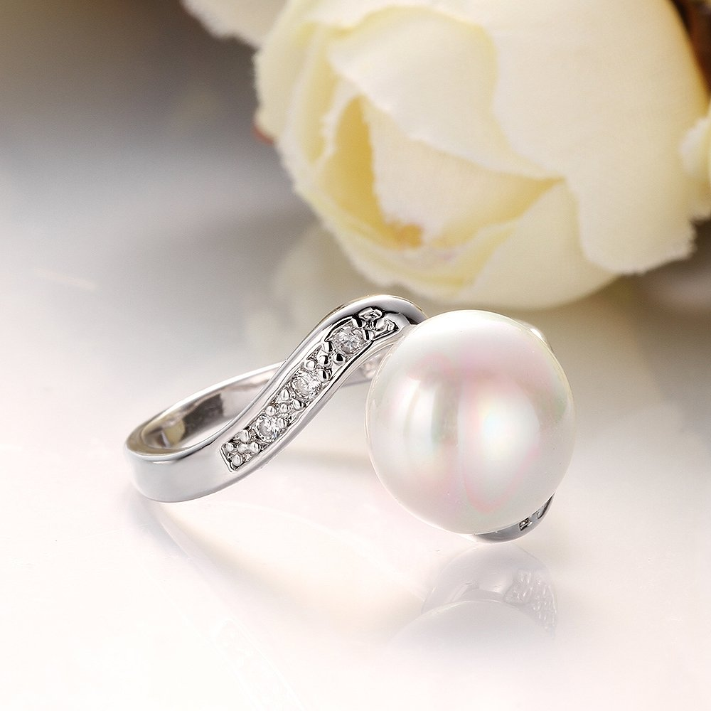 IVYRISE 925 Sterling Silver Plated Jewelry Unique Pearl CZ Hollow Wedding Ring