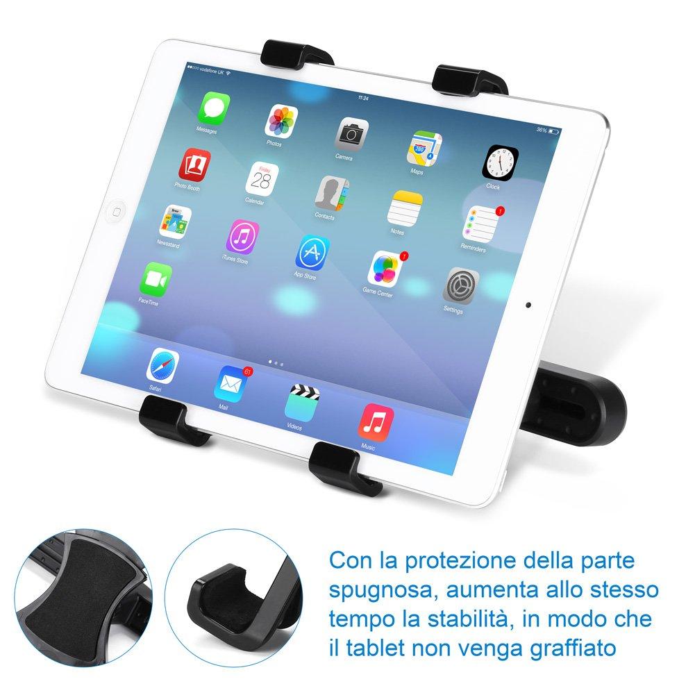 GHB Supporto Tablet Auto Supporto Poggiatesta per iPad Tablet Auto Universale 7' a 10' Rotazione di 360° Nero gohappybuy