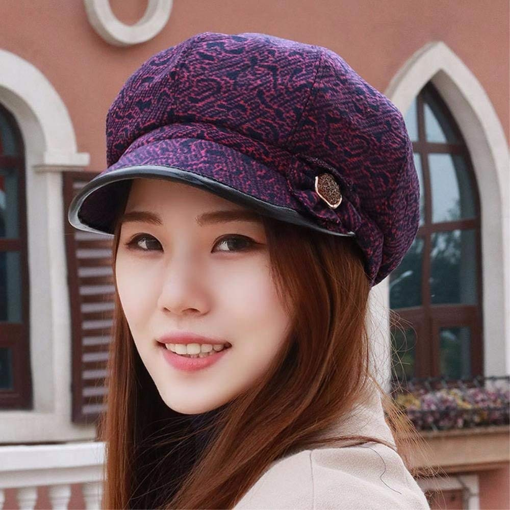 Thundertechs Hat Female Autumn and Winter Outdoor Video face Small Fisherman hat Cap Beret Latticed Octagonal Cap (Color : The Purple, Size : M) by Thundertechs (Image #1)