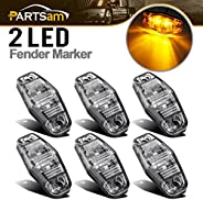 Partsam 6pcs LED Light 2 Diode Clear/Amber Universal Mount Clearance Side Marker Trailer (Size: 2.53 x 1.06 x