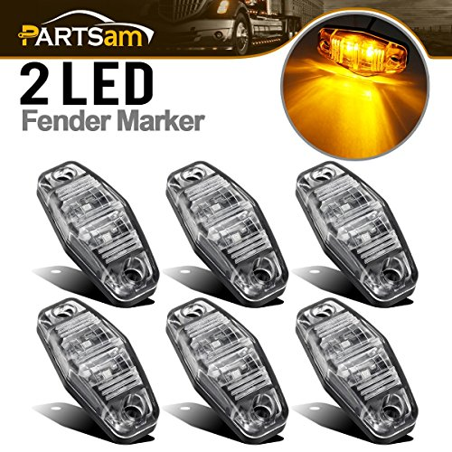 Partsam 6Pcs Mini Oval 2.5 Inch LED Light 2 Diode Clear Lens Amber Universal Mount Side Marker Trailer Lights, Sealed Mini oval led side fender lights Trailer Truck Surface Mount Waterproof