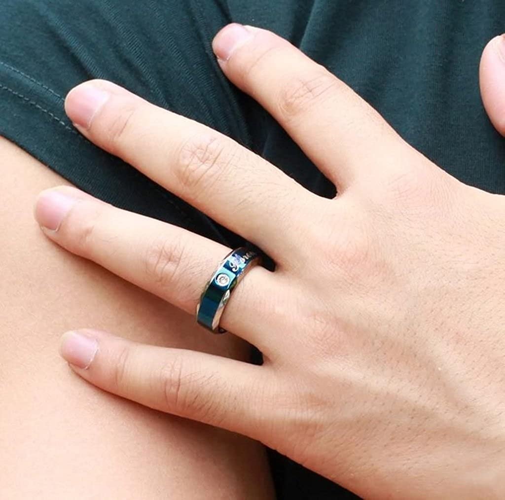 Promise Couple Ring for Man Size 8 Bishilin Stainless Steel Forever Love Blue Wedding Band Anniversary Engagement