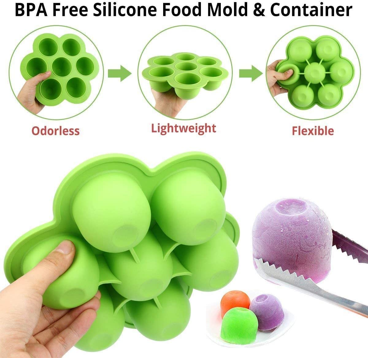 boite repas compartiment pot conservation b/éb/é Facile /à remplir et /à nettoyer /écologique et z/ér Bac silicone cong/élation pour repas b/éb/é 7 portion silicone b/éb/é ツ Smile/&Green 2